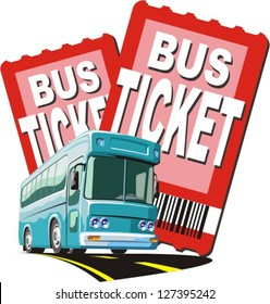 bus on a two ticket background