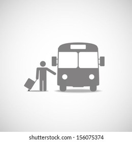 Bus and passenger symbol