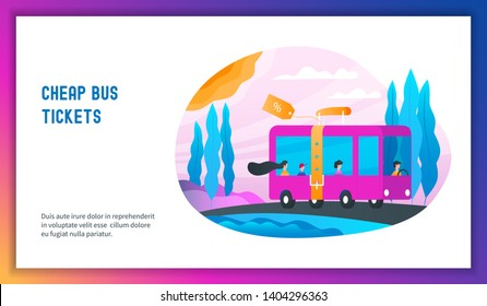 Bus with passengers traveling on the road. Cheap bus tickets concept. Modern vector illustration