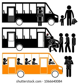 Bus as Public Transport at Bus Stop with Group of People Coming in. Dad Driver Concept. Stick Figure Pictogram Icon Vector