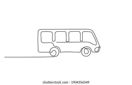 Bus for public transportation in city. Continuous one line drawing. Minimalism style. Vector illustration