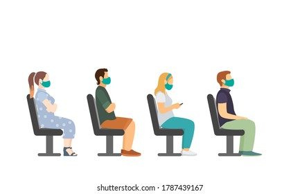 bus seating side view. man and woman in face mask. vector illustration