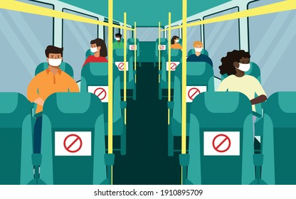 bus seating with social distance. black and white, man, woman in face mask. vector illustration