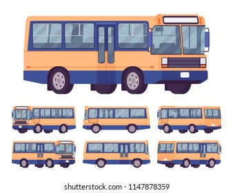 Bus set. Single-decker orange-blue large motor road vehicle for carrying passengers, city transit. Vector flat style cartoon illustration, isolated on white background, different positions and view