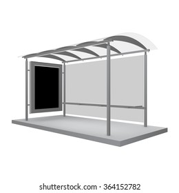 Bus shelters with billboard for your design. Vector object.