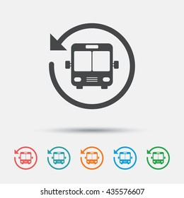 Bus shuttle icon. Public transport stop symbol. Graphic element on white background. Colour clean flat bus shuttle icons. Vector