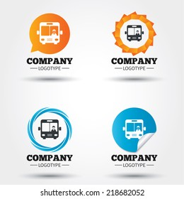 Bus sign icon. Public transport with driver symbol. Business abstract circle logos. Icon in speech bubble, wreath. Vector