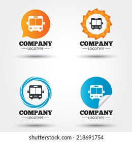 Bus sign icon. Public transport symbol. Business abstract circle logos. Icon in speech bubble, wreath. Vector