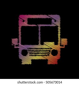 Bus sign illustration. Coloful chalk effect on black backgound.