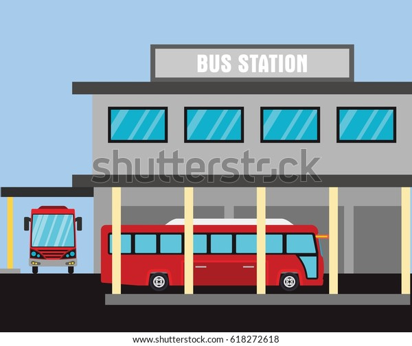 Bus Station Design Vector Stock Vector (Royalty Free ...
