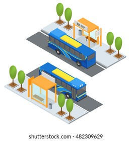 Bus Station and Public Transportation. City transport concept buses stop traffic. Modern isometric tour buses. Vector illustration