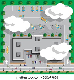 Bus station. View from above. Vector illustration.