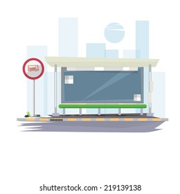 bus stop with city background - vector illustration