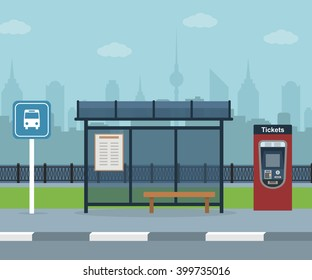 Bus stop with city background . Vector illustration. Flat design