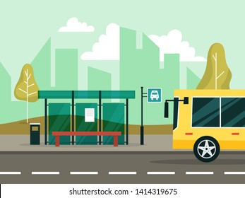 Bus stop in the city. Idea of transportation. City view on summer. Shelter from the rain and bench. Vector illustration in cartoon style