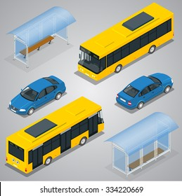 Bus stop, city bus and sedan car. Flat 3d isometric vector illustration. For infographics, design games.