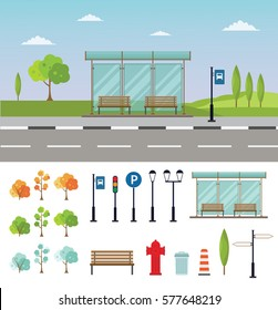 Bus stop cityscape flat vector illustration background set