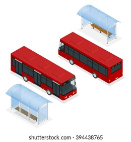 A bus stop is a designated place where buses stop for passengers to board or alight from a bus. Flat 3d isometric vector illustration. For infographics and design games.