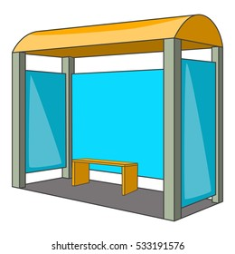 Bus stop icon. Cartoon illustration of bus stop vector icon for web