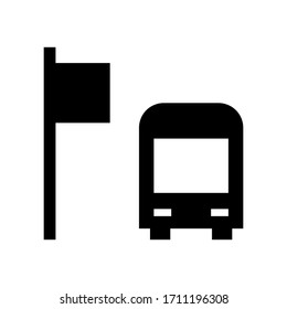 Bus stop icon in trendy line style.