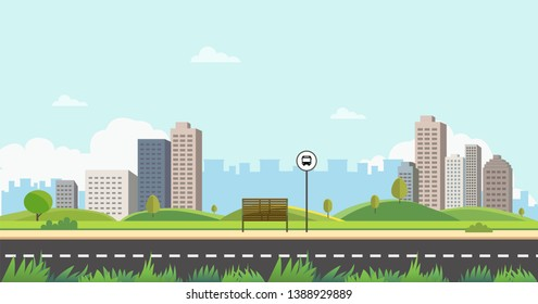 Bus stop on main street city with grass foreground.Public park with bench and bus stop with buidings and sky background.Beautiful nature scene with town and hill.Clean spring amazing scenery vector.