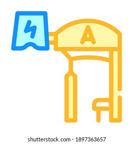 bus stop with pantograph color icon vector. bus stop with pantograph sign. isolated symbol illustration