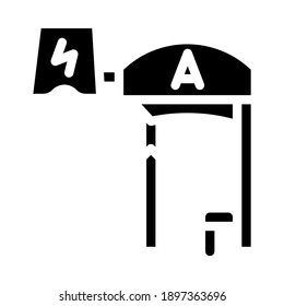 bus stop with pantograph glyph icon vector. bus stop with pantograph sign. isolated contour symbol black illustration