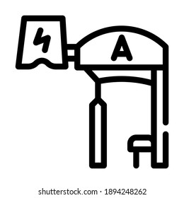 bus stop with pantograph line icon vector. bus stop with pantograph sign. isolated contour symbol black illustration
