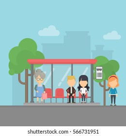 Bus stop with passengers. Urban background. People wait transportation at the station.