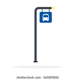 Bus stop post vector flat material design object. Isolated illustration on white background.