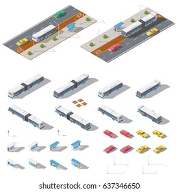 Bus stop and road architecture isometric icon set vector graphic illustration design