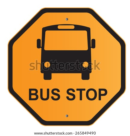 Bus Stop Sign Road Sign Isolated Stock Vector (Royalty ...