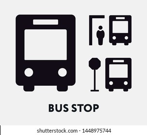 Bus Stop Sign. Waiting Man. Flat Vector Icon.