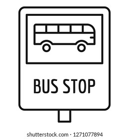 Bus stop traffic sign icon. Outline bus stop traffic sign vector icon for web design isolated on white background