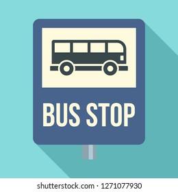 Bus stop traffic sign icon. Flat illustration of bus stop traffic sign vector icon for web design