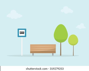 Bus stop. Vector illustration