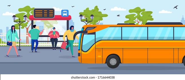 Bus stop, waiting people passenger vector illustration. City transportation, public transport standing on road near station. Sign with schedule on public building. Character on sidewalk.