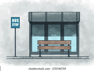 Bus stop. Watercolor vector illustration