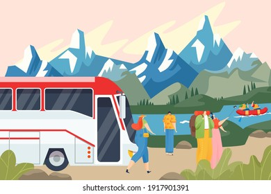 Bus stopped, tourists admire mountain landscape, road trip by transport, business tourism, cartoon style vector illustration. Travel on vacation outdoors, men and women on nature tour in europe.