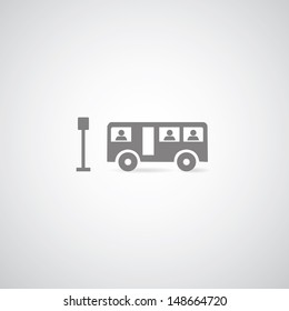 bus symbol on gray background