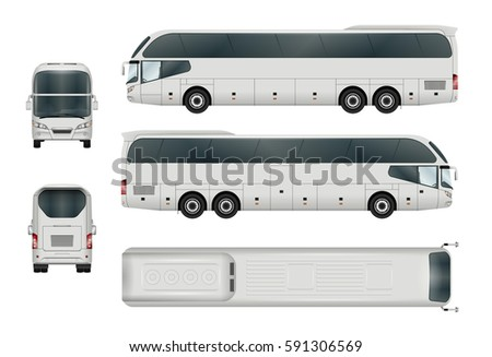 bus template car branding advertising isolated stock vector royalty