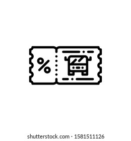 Bus Ticket Icon Outline Vector. Holiday Sale Icons. Online Shop Ikon.