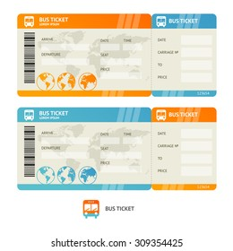 Bus ticket isolated on white background.  Design Template. Vector illustration