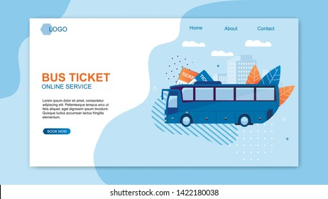 Bus Ticket Online Service Web Design Flat Cartoon Banner Vector Illustration. Travel around World and Countries. Recreation and Entertainment. Business Trip. Transport for Comfortable Traveling.