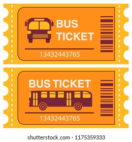 Bus ticket.Public transport.Bus side view and in front. Flat vector.Isolated on white background.