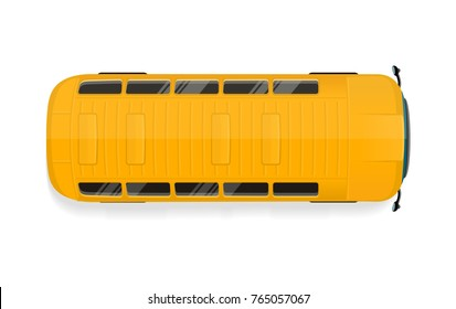 Bus top view icon. Yellow school bus roof flat vector illustration isolated on white background. City public transport. For game environment, transport concept, urban infographics, logo, web design