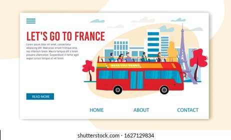 Bus Tours, Professional Excursion in France Trendy Flat Vector Web Banner, Landing Page Template. Tourists Visiting Paris, Observing Famous Attractions from Double-Decker, Open Top Bus Illustration