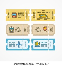 Bus, Train, Airplane Tickets Flat Design Style Icon. World Traveler Set. Vector illustration of Creative Ticket Elements with Thin Line Icons