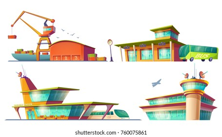 Bus and train station buildings, airport, sea or river cargo port, dock, set of colored 3d cartoon icons of isolated on white background. Concept of passenger and freight traffic.