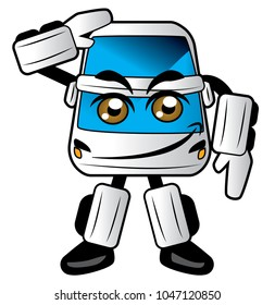 Bus transformer cartoon design greeitng
